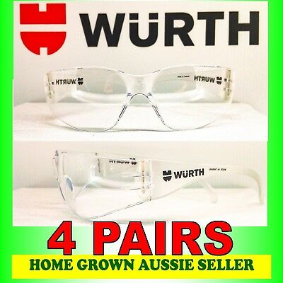 Wurth Safety Glasses  4 Pairs – Clear, Uv Protection, Polycarbonate