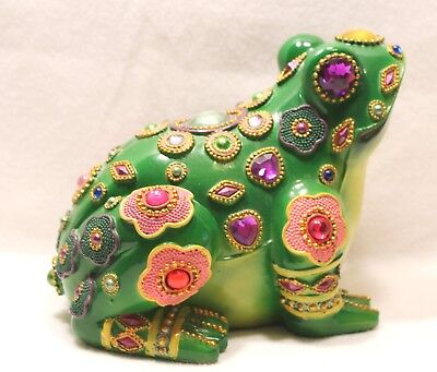 Frog with Jewels Figurine Statue Green Whimsical Bohemian