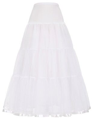 Tulle Hoopless Bridal Petticoat Long Slips for Women CL421-2_XL,White