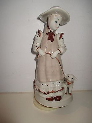 1970s Porcelain Brown Little Girl with a Lamb Wind Up Rotating Musical Figurine