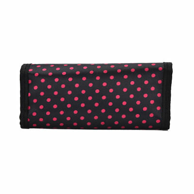 Cute Black With  Hot Pink Dots  Crochet 10 Hook Pouch Case Organizer.