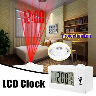 Projection Snooze Alarm Clock Backlight Wall Projector Clocks Thermometer USA