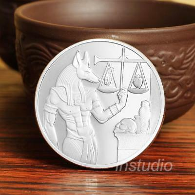 God of Death Egyptian Mummification Anubis Coin Badge Collectible Silver Color