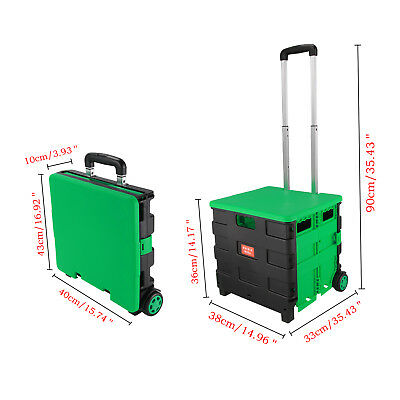2 Wheels Shopping Trolley Collapsible Basket Folding Cart Waterproof Green Color