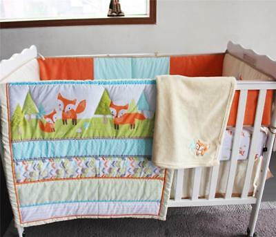 Baby Cot Crib Nursery Bedding Quilt Fox Eliphant Animals 3D Pattern Sew-on