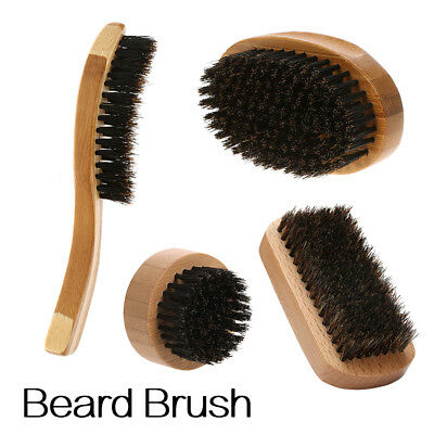 Mens Boar Bristle Mustache Beard Brush Shaving Face Clean Bamboo / Wood Base UK
