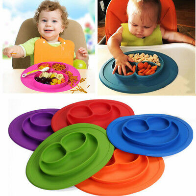 Baby Toddler Silicone Suction Table Food Tray Placemat Plate Mat Divided Bowl FG