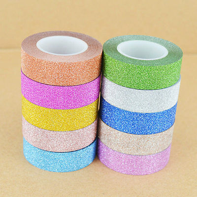 10M Craft Glitter Washi Tape Decoration DIY Adhesive Paper Sticker Scrapbooking