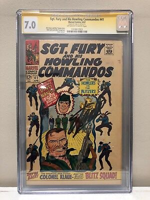 Sgt. Fury And His Howling Commandos #41 Cgc Ss 7.0 Fn/vf Signed By Stan Lee!