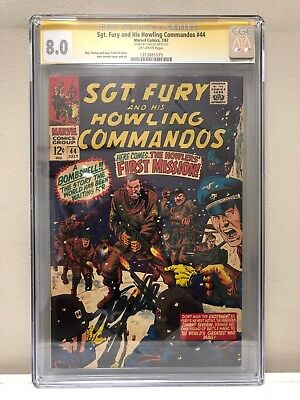 Sgt. Fury And His Howling Commandos #44 Cgc Ss 8.0 Vf Signed By Stan Lee!