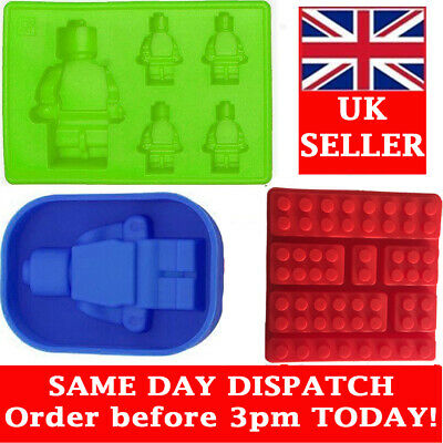 Lego Shaped Ice Cube Tray Silicone Moulds Candy Chocolate Moulds Kids Set of 3