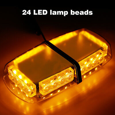 24 LEDs Car Emergency Strobe Light Bar Police Warning Flash Light Lamp AmberGlow