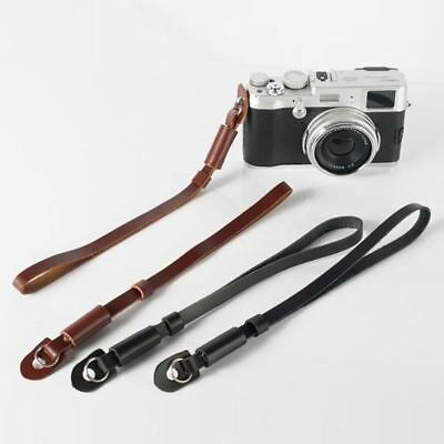 Black / Brown PU nylon & leather Camera Wrist Hand Strap Grip