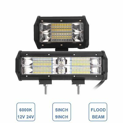Offroad 5'' 9Inch Wide Flood Beam Led Work Light Bar 12V 24V Car Motorcycle Suv