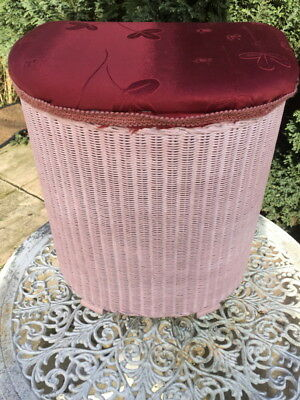 Vintage/Retro Pink Lloyd Loom 'Lusty' laundry basket/chest dated '1952'