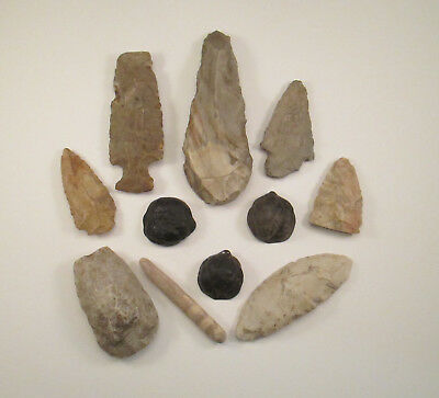 Lot of Ancient Indian Arrowheads Petrified Walnut Shells Shoal Creek, IL    RB1A