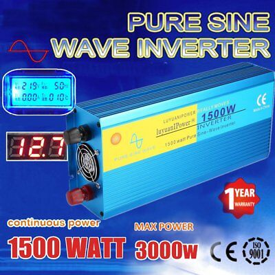 1500W (3000W MAX) Pure Sine Wave Power Inverter DC12V To AC240V Aluminum Q9