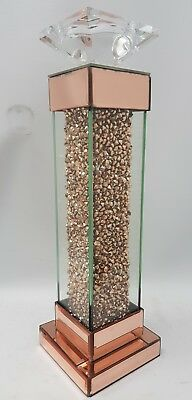 Rose Gold Diamond Crush Sparkly Tall Pillar Square Mirrored Candle Holder