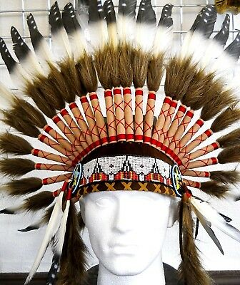 Amazing Traditional Indian Chief Head Hat with Natural Feather One Size Costume