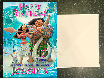 Personalised Moana Birthday Card - Large A5 Any Name & Age