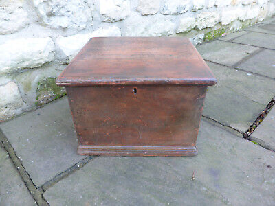 Victorian Pine Box Original with Blacksmith Made Hinges, Small Tray, Dove Tailed