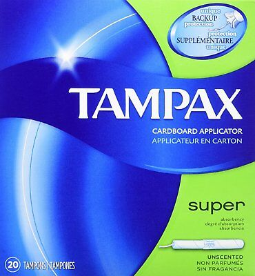Tampax Cardboard Applicator Tampons, Super Absorbency, Unscented, 20 Count - of