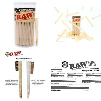 100 Pack Raw Classic King Size Pure Hemp Pre Rolled Cones Weed Smoking & Fil