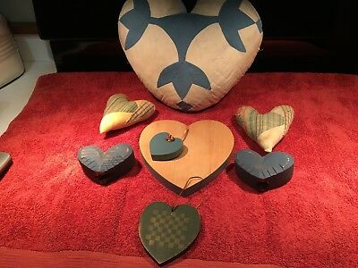 Primitive Heart Ornies Bowl Fillers Tucks Valentines Day~Wood/Cloth/Large/Small