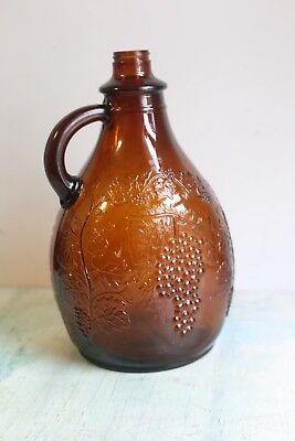 Vintage Antique Brown 1 Gallon Wine Jug with Embossed Grape Vines