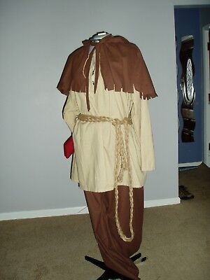 Renaissance Peasant Outfit - Small - Shirt, Breeches, Belt with Shoulder Cape