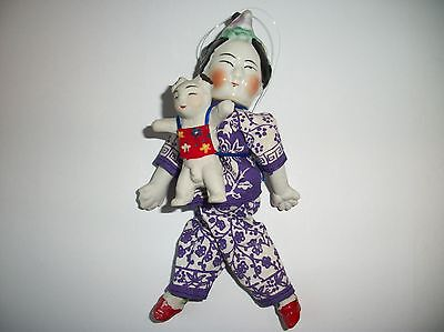 Vintage Chinese Asian Bisque Doll ~ Mother carrying Anatomically Correct Baby