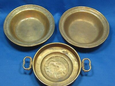 3 Antique Solid Brass Mix Lot German Bowls Engraved Marks 3 LBS One w/handles