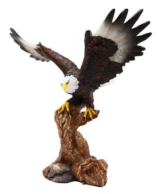 Bald Eagle On Tree Branch Statue Sculpture Figurine Desk Table Decor Accent Gift