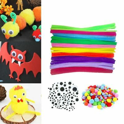 500PCS Kids DIY Craft Supplies Kit Including 100 PCS 10 Colors Chenille Stems 15