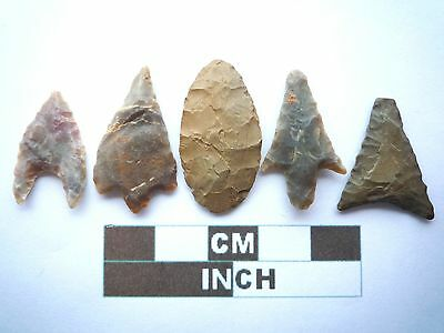 Neolithic Arrowheads x5, High Quality Selection of Styles - 4000BC - (W009)