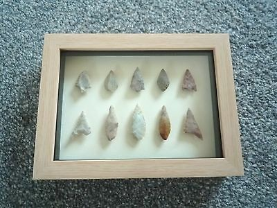 Neolithic Arrowheads in 3D Picture Frame, Authentic Artifacts 4000BC (0792)