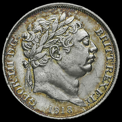 1818 George III Milled Silver Sixpence, Scarce, AEF / EF