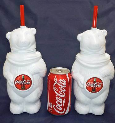 Qty 2 Coca Cola  COKE Polar Bear Cup w/ Straw   NEW / NEVER USED   FREE SHIPPING