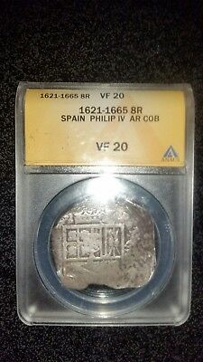Certified ANACS - Spanish silver 1621 Philip IV cob (coin).Peice of Eight