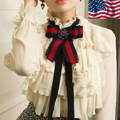 Elegant Ladies Large Bow Tie Necktie Ribbon Pendant Bow Collar Gifts With Brooch
