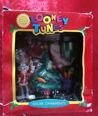 "Matrix Looney Tunes SOLAR MOTION BUGS BUNNY AND TREE 4"" CHRISTMAS ORNAMENT 1995"
