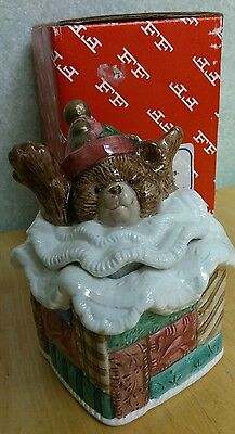 Vintage 1992 Fitz and Floyd Christmas Quilt Teddy Bear Sugar Pot Original box