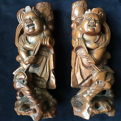 Pair of Chinese Carved Hard Wood Deities were Lamp Stands 30cm High