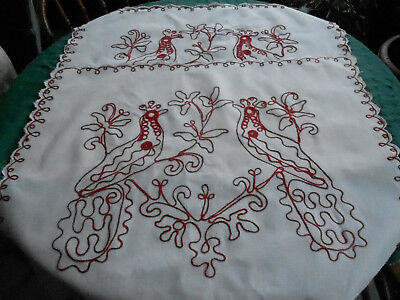 2 Antique White And Red Turkey Work Pillow Shams, Early 20Th Century