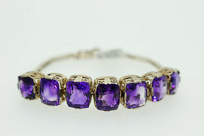 Magnificent Antique Victorian genuine amethyst sterling silver bracelet rare