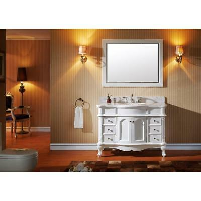 VIRTU Norhaven 48 Vanity with Marble Vanity Top with White Basin and Mirror