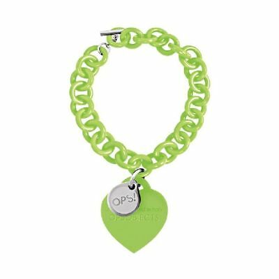 Bracciale Donna Ops Objects Love Opsbr-26 Silicone Verde Fluo Pendente Cuore
