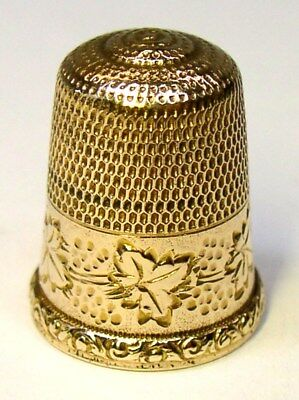"Antique Simons Brothers Gold Thimble Grapes & Leaves Pattern Monogram ""Anna"""