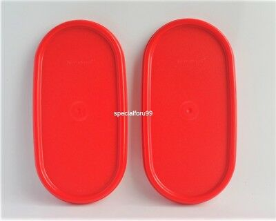 2 NEW Tupperware Modular Mates Oval RED Seal Replacement Lid Cover MM #1616
