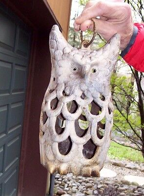 """Superb Vintage Cast Iron Metal Heavy Weathered Horned Owl Candle Lantern 10.5"""""""